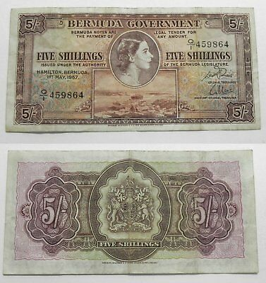 Bermuda 5 Shillings Currency Banknote 1957  VF