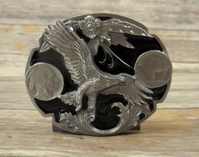 Buffalo Nickel Eagle Belt Buckle 1995 Siskiyou Black Silver Country Western VTG