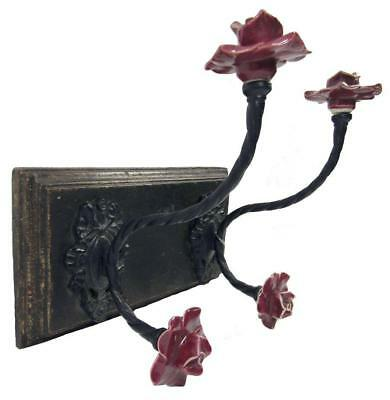 Hat Coat Rack Wall Mount Wood Iron 4 Porcelain Red Rose Flower Knob