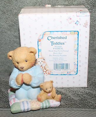 Cherished Teddies Patrick Thank You For A ... Figurine # 911410 1992 By Enesco