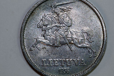Grades About Uncirculated 1936 Lithuania 10 Litu Nice Color Silver Coin LITH102