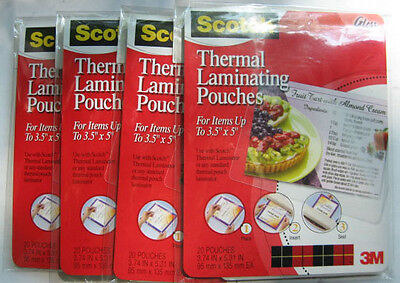 4 Packs of 20=80/Scotch Thermal Laminating Pouches/3M/ 3.74 Inches x 5.31 in.