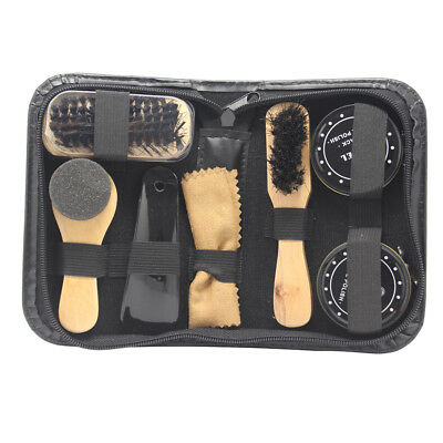 8 in 1 Black & Neutral Shoe Shine Polish Cleaning Brushes Set Kit in Travel Case