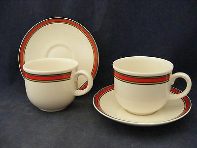 2 Royal Kent Staffordshire Cups & Saucers Red Green Tan Bands Good Condition