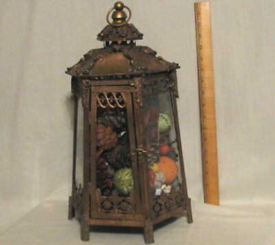 AWESOME RARE and ORNATE VINTAGE 6 SIDED BRASS and GLASS TERRARIUM