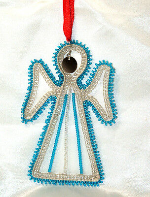 """South African Beaded Angel Christmas Ornament 4.5""""x3"""" BLUE A03"""
