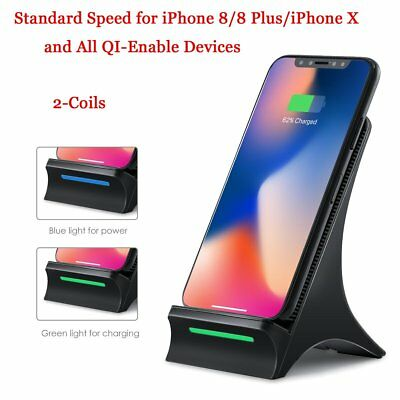 Qi Wireless Charger Dock Pad Mat+Cooling Fan for Apple iPhone X 10 8/8 Plus+