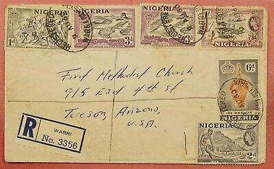 1960 Nigeria Multi Franked Registered Warri To Usa