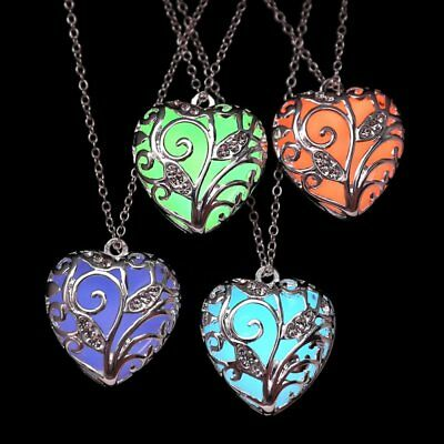 Unique Magical Fairy Glow in the Dark Pendant Locket Heart Luminous Necklace New