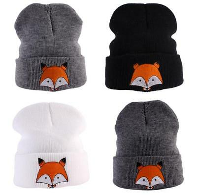 Unisex Baby Toddler Kids Boys Girls Knitted Crochet Beanie Winter Fox Hat Cap