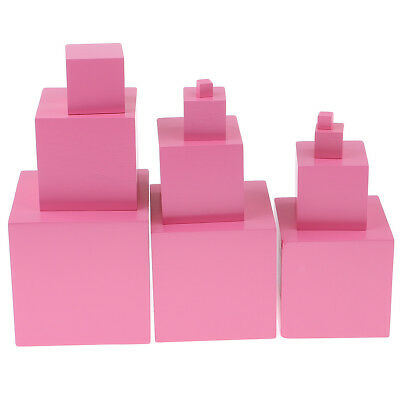 11 Pink Tower Building Blocks Cubes for Montessori Kindergarten Teaching Aid