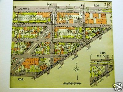 BROOKLYN MAP 1929 BEDFORD EAST NEW YORK ATLANTIC AVENUE Matted