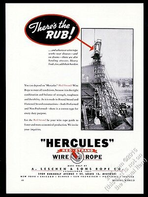 1947 Leschen Hercules Red Strand Wire Rope vintage trade print ad