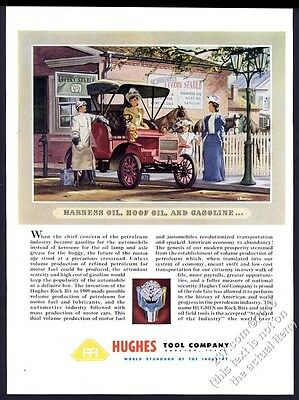 1947 Howard Hughes oil well tool company drilling rock bit 1909 car art ad