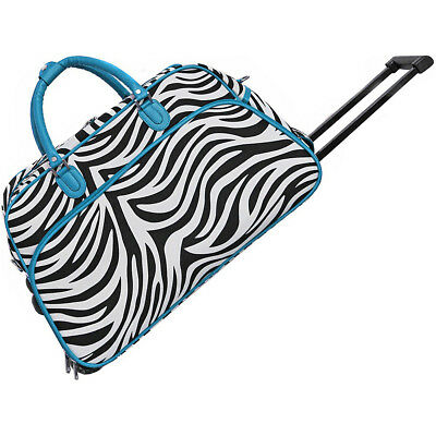 "World Traveler Zebra 21"" Rolling Duffel Bag 8 Colors"