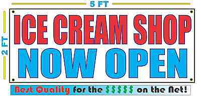 ICE CREAM SHOP NOW OPEN Banner sign