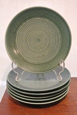 "Rorstrand Green Sweden  Set Of 6  Vintage Mid Century 7"" Salad Plates  ""a"""
