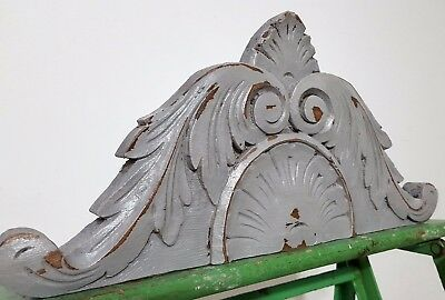 "Shabby Hand Carved Wood Pediment 14"" Antique French Crown Architectural Salvage"