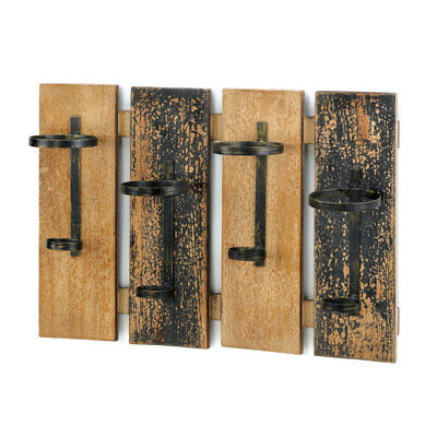 Antique Style Rustic Wall Mount Wooden Wine Rack Holder