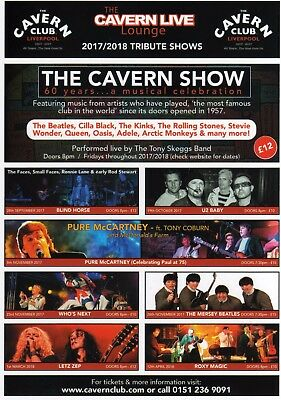 The Cavern Club Lounge, 2017/18 Featured Shows Flyer. 60 Years Celebration