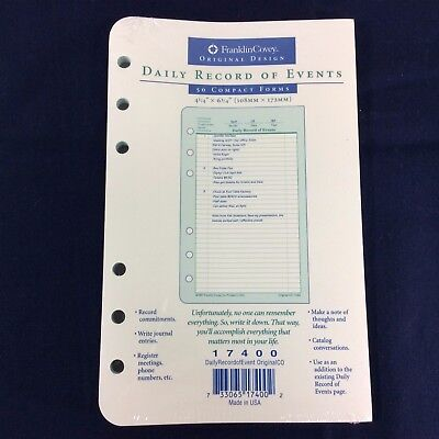 Daily Record Of Events 17400 Pages Franklin Covey Refill Compact Planner Forms