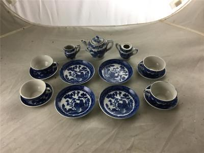 16 Piece Vintage Blue Willow Child Tea Set Transfer Ware Made in Japan