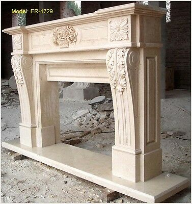 Customize Personal Hand Carved Natural Solid Marble Fireplace Mantel Surround@@