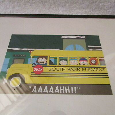 """1997 South Park Elementary Comedy School Bus Print Picture In Frame 8"""" X 10"""""""