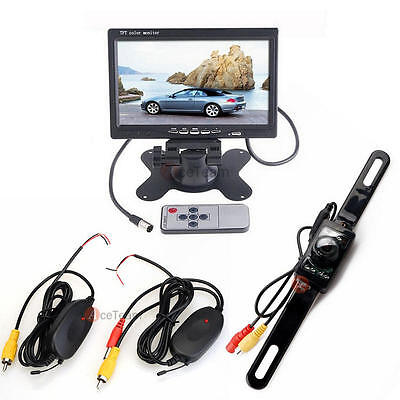 "Wireless Car Rear View Parking Backup Camera Night Vision + 7"" TFT LCD Monitor"