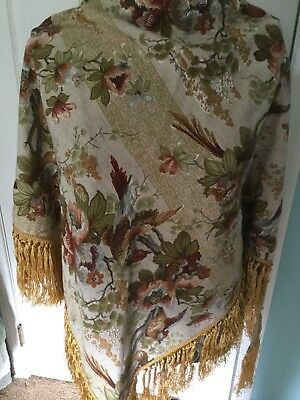 Vintage CALIFORNIA THING 1970 Shawl/Piano Shawl floral,birds,golden fringe.