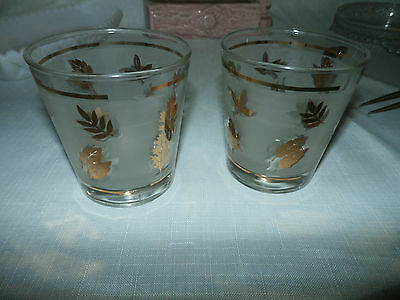Vintage LOT of 2 MCM Gold Leaf Shot Glasses Cordial Glasses