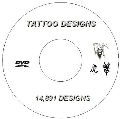 Over 4.34Gb  Dvd 14,891 Flash Designs & Tattoo Books Tribal Chinese Demons