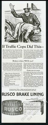 1927 cop police officer spanking suspect Rusco Brake Lining vintage print ad