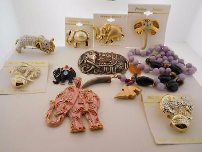 10 Piece Elephant LOT  Jewelry Brooches Pendants Necklace New & Vintage