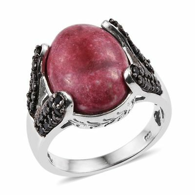 Thulite, Boi Ploi Black Spinel Ring in Platinum Over Sterling Silver 11.5 Ct