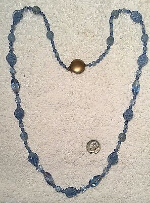 Vintage Rare Swirling Blue Givre Glass Beads 30 Inch Necklace Only 1