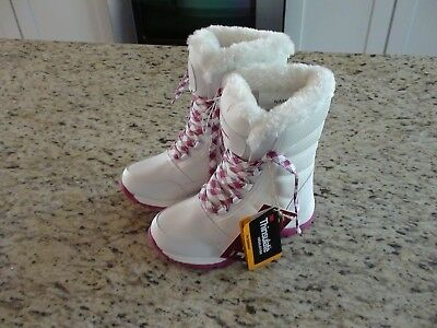 NEW QUEST 3M Insulate 100g Girls White & Pink Snow Boots Size 2