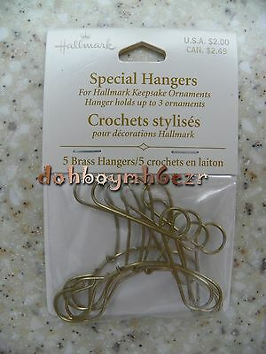 Hallmark Christmas Ornament Special Hangers Hooks 3 Ornament Brass Display Set