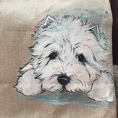 West Highland White TerrieHand Painted Pillow Cover  Insert Not Included