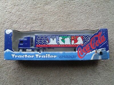 1996 Coca-Cola Tractor Trailer Polar Bear Holiday Die Cast Metal Semi 1/64 Coke