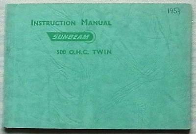 SUNBEAM 500 OHC TWIN MOTORCYCLE Instructions Handbook Manual Nov 1952 #SM58-5-5