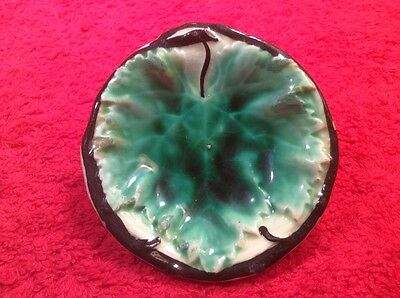 Beautiful Antique Majolica Leaf Butter Pat Marked, c1800's, gm859 GIFT QUALITY!!