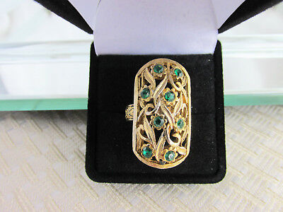 Vintage Emerald Green Rhinestone Gold Plated Cocktail Ring Adjustable Size 4 5 7