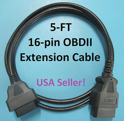 16 Pin Male to Female OBD2 OBDII Extension Cable Car Diagnostic Extender 5ft NEW