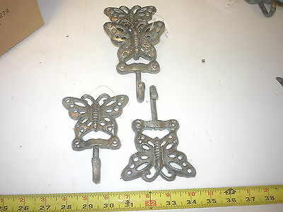 10 Cast Iron Cutout Butterfly Insect  Hook Hanger  Key Coat  Hat