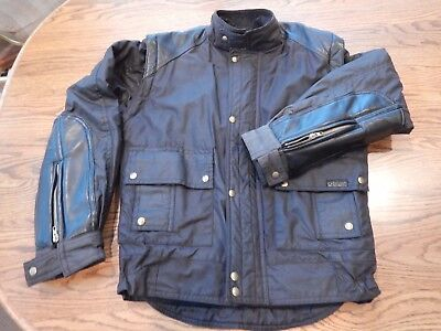 Belstaff Mens Leather/Cotton Waxed Motorcycle Jacket w/ Quilt Lining: Size S