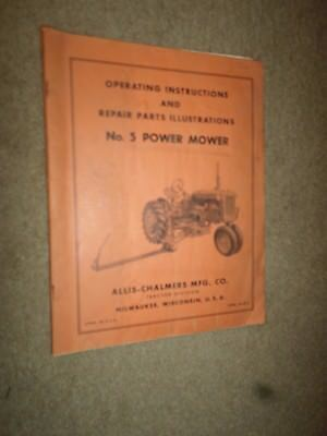 """c.1954 Allis-Chalmers """"No. 5 Power Mower"""" Operating Instructions & Parts Manual"""