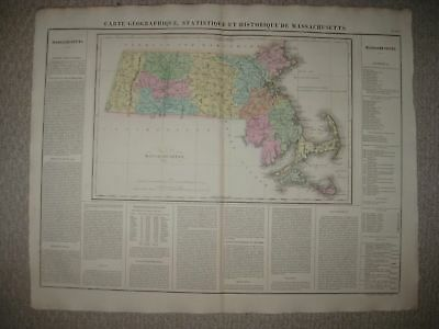 Huge Folio Antique 1825 Massachusetts Carey & Lea Buchon Handcolored Map Boston