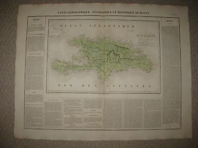 Huge Superb Antique 1825 Haiti Dominican Republic West Indies Carey & Lea Map Nr