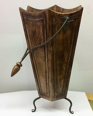 6-SIDED WOOD UMBRELLA STAND Vintage WASTE BASKET Handle WROUGHT IRON Tapered